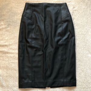 High-waisted Faux Leather Pencil Skirt